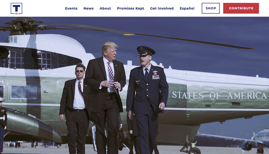 Screenshot from Donald Trump's 2020 presidential reelection campaign website