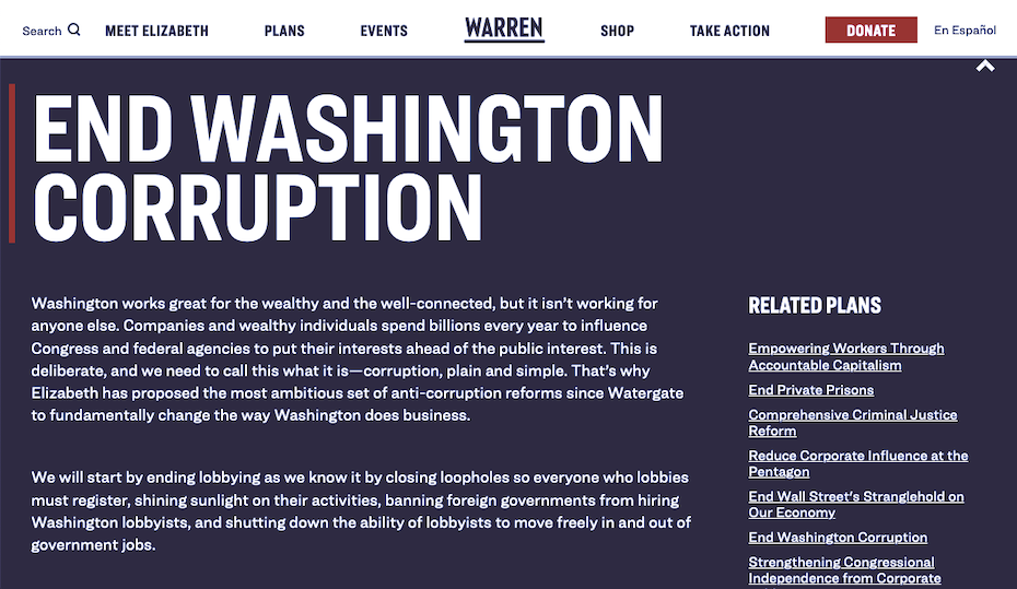 Screenshot of Elizabeth Warren's website for her 2020 presidential campaign