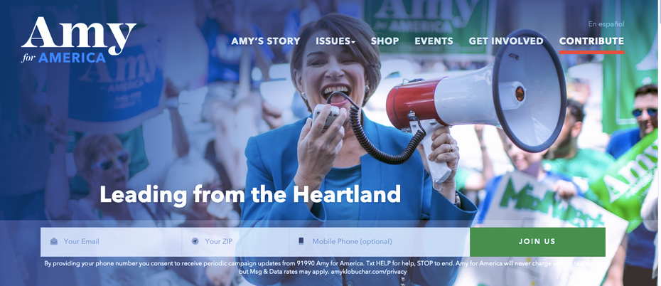 Screenshot from the home page of Amy Klobucher's 2020 campaign website.