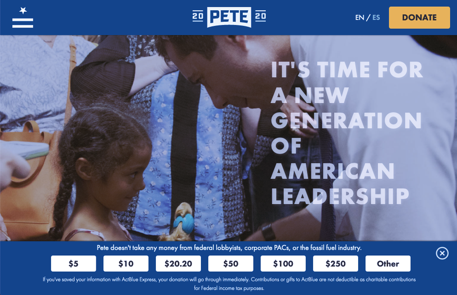 screenshot from Pete Buttigieg's 202 presidentai campaign website.