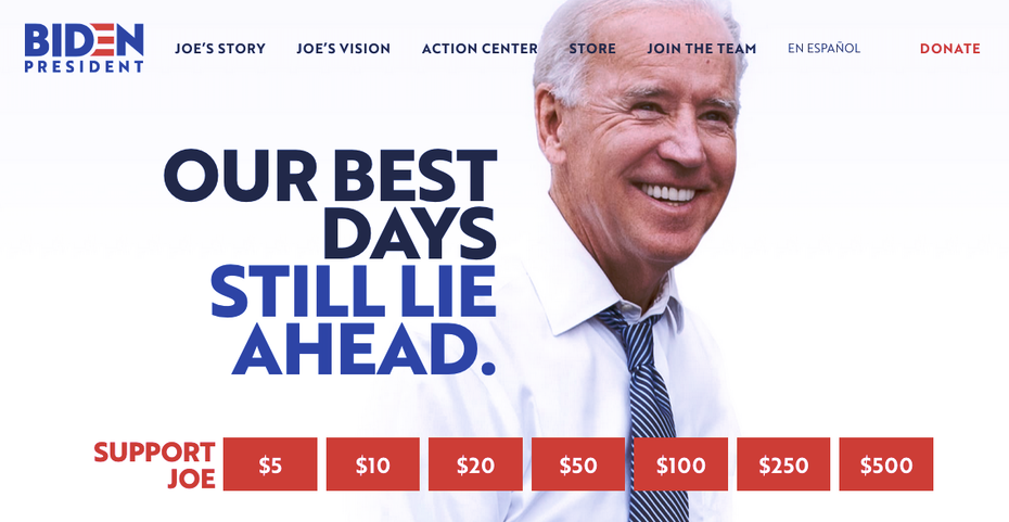 Home page of Joe Biden campaign website