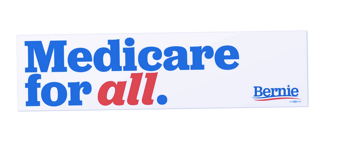 Medicare for all bumper sticker from the Bernie Sanders 2020 campaign.