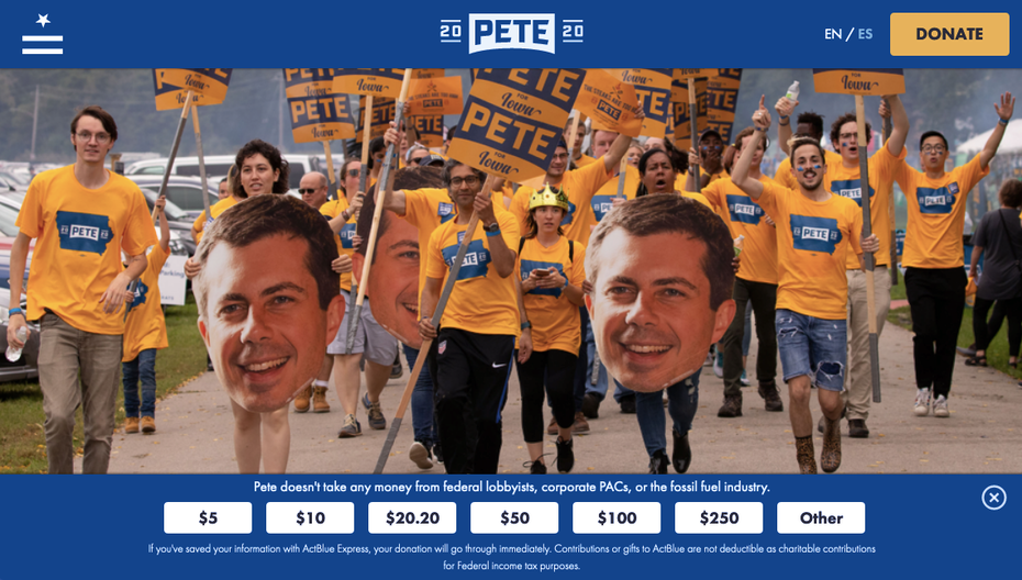 screenshot of Pete Buttigieg's 2020 campaign website