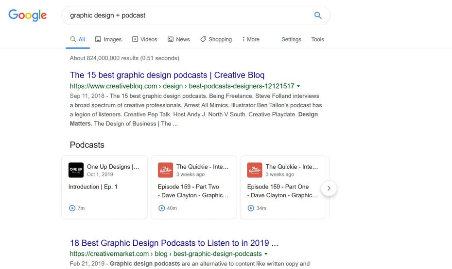 Keyword searches for podcast episodes