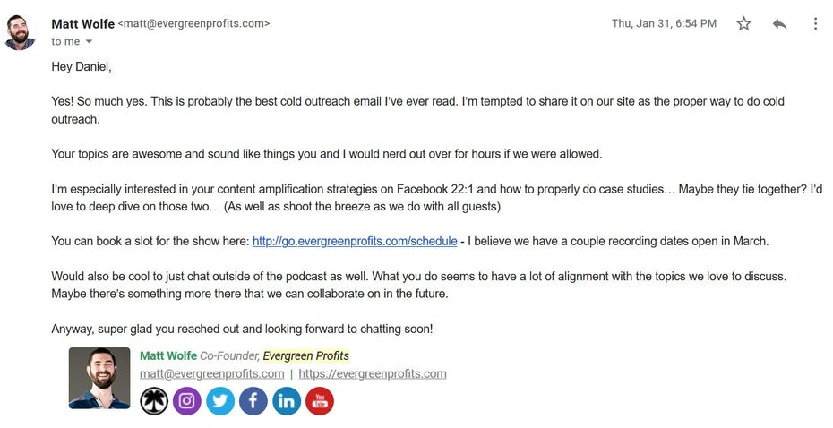 Podcast pitch response