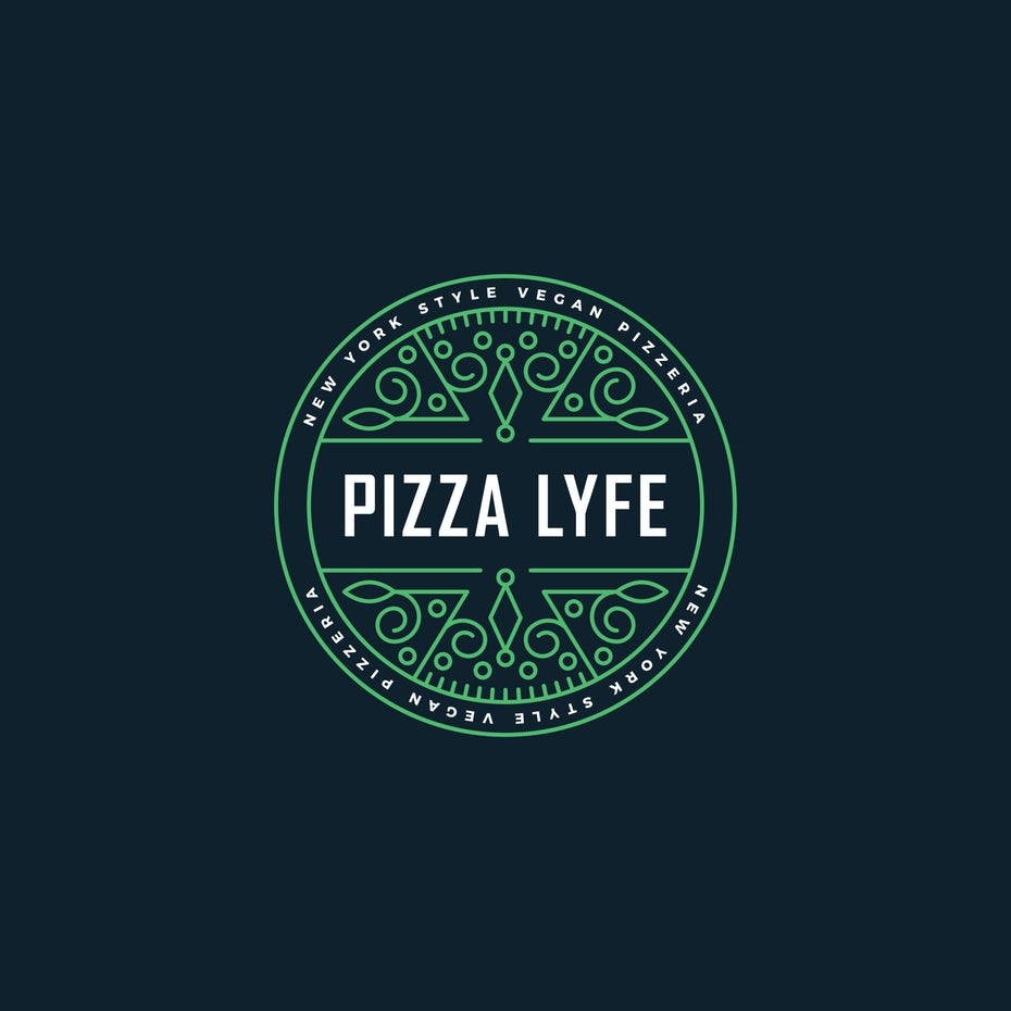 Green logo for vegan pizza parlor