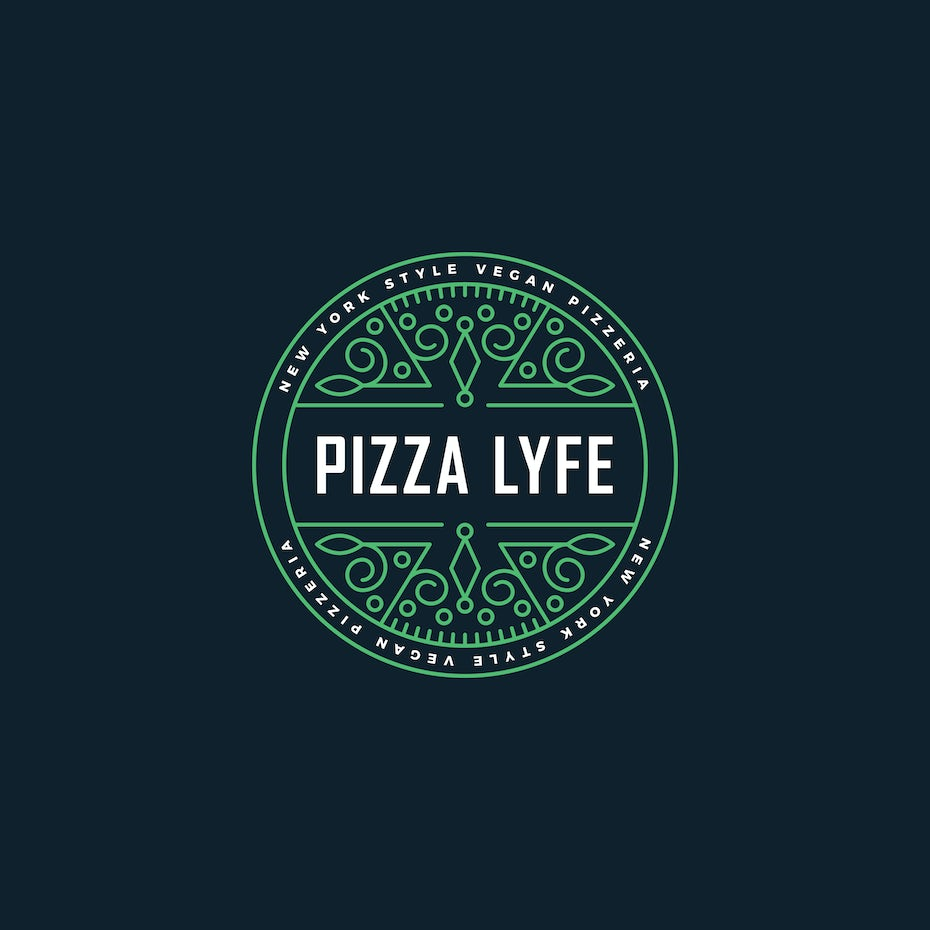 Green logo for vegan pizza parlor