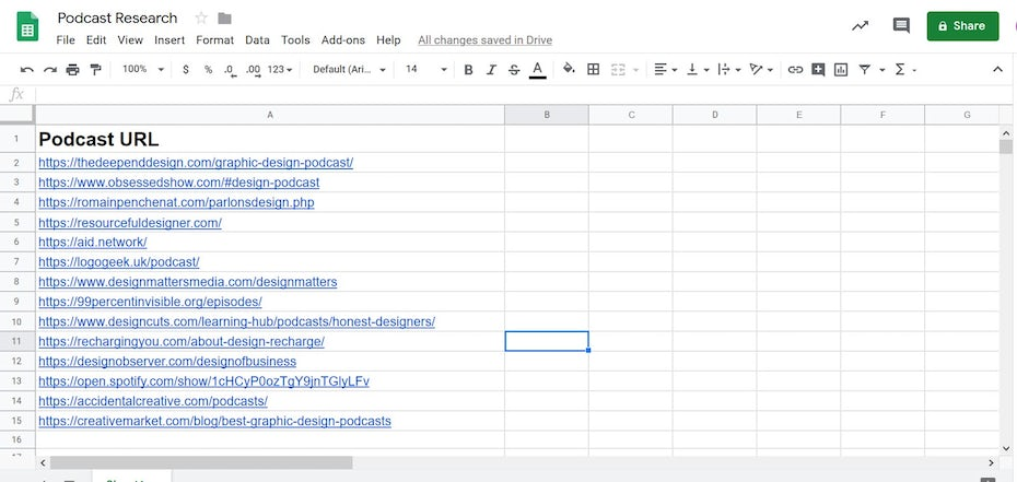 Podcast Research Google Sheets