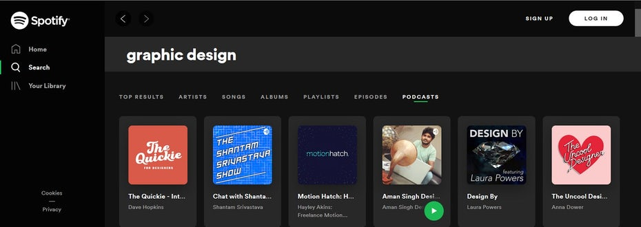 Searching Spotify for podcasts