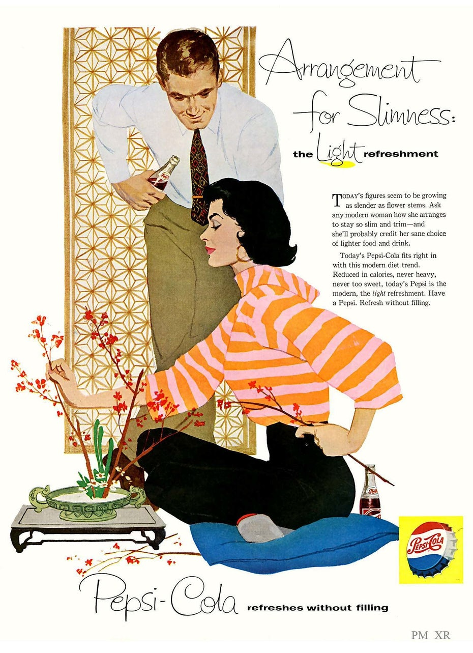 1950s Pepsi-Cola ad showing a woman arranging a plant as a man looks on