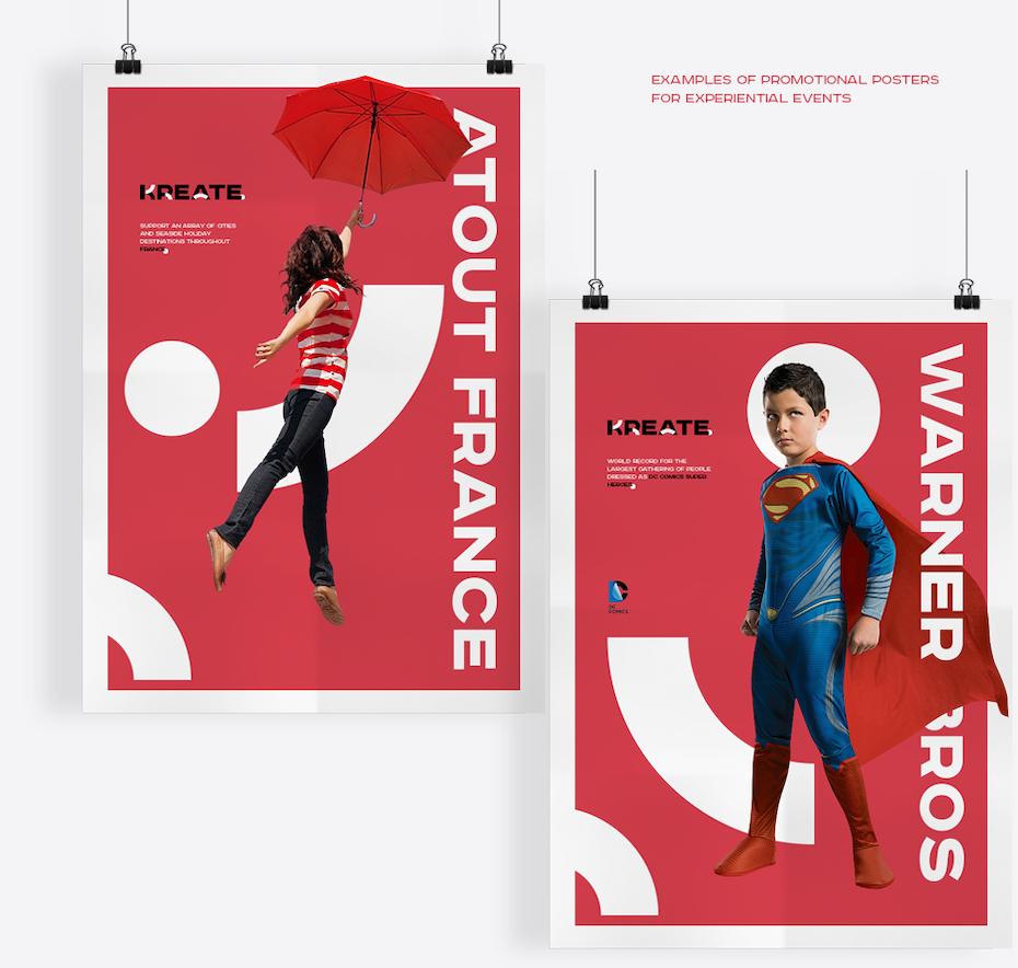 Markenidentität in einem roten energiegeladenen Posterdesign veranschaulicht