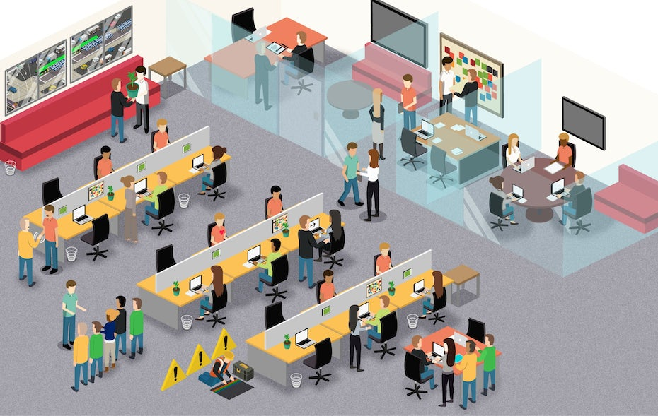 isometric illustration of company culture with teams working together in an office