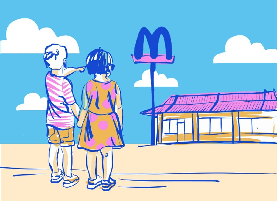 illustration of brand experience with kids pointing at mcdonalds sign