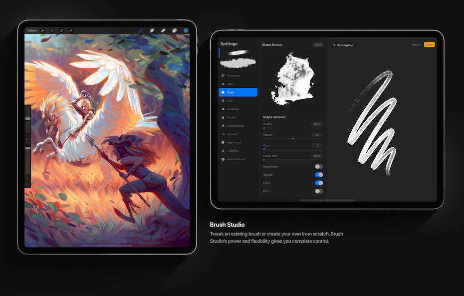Screenshots of the Procreate tablet software interface