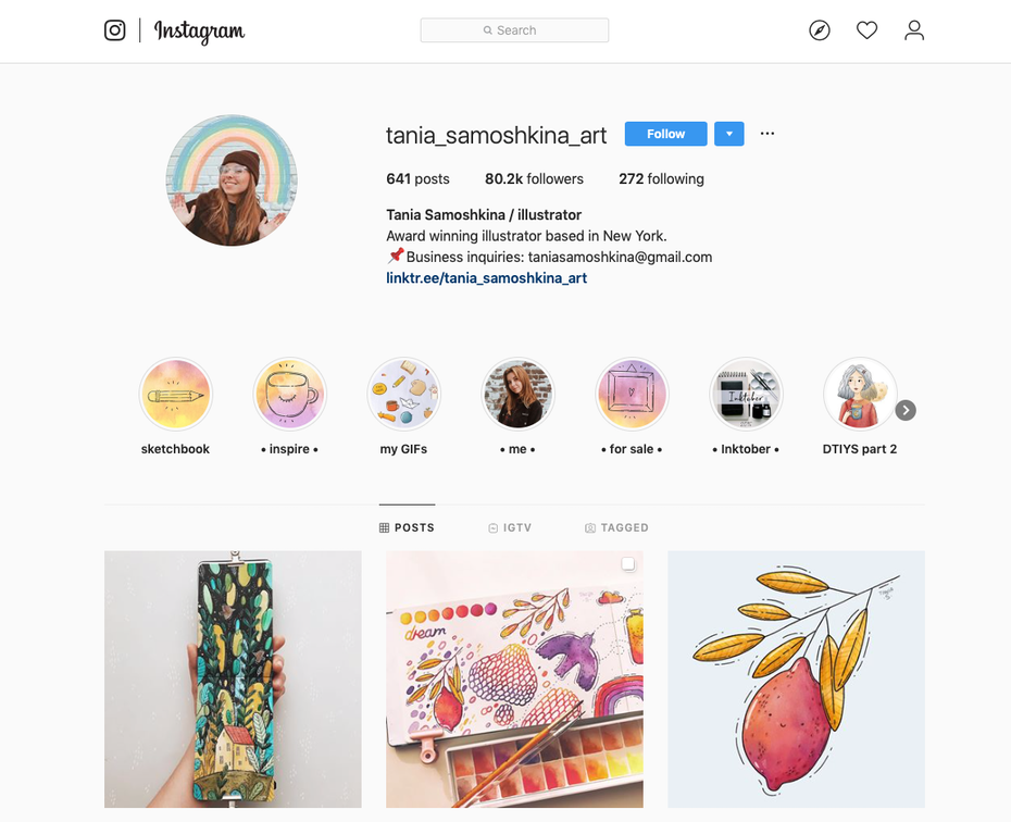 A screenshot of a graphic designer's Instagram page