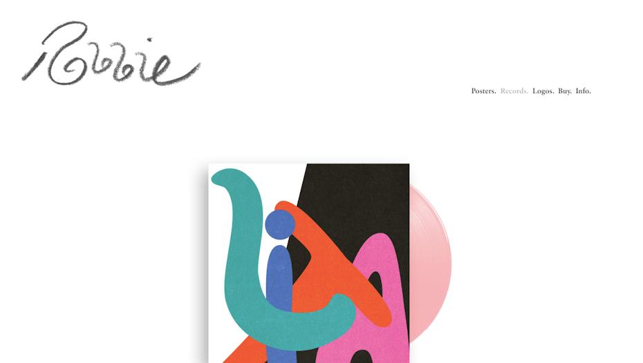 graphic designer portfolio example: Robbie Simon portfolio website