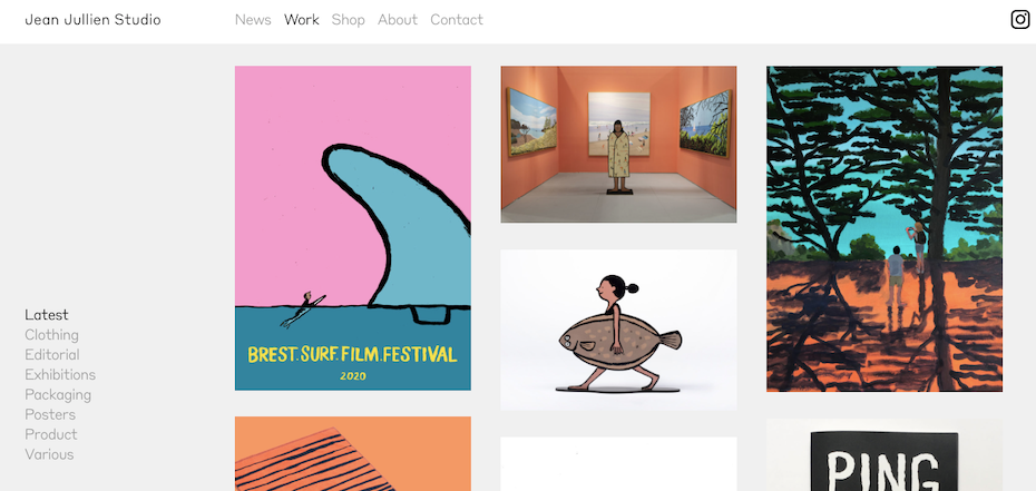 graphic designer websites: Jean Jullien portfolio