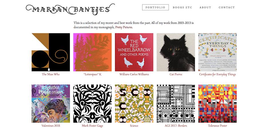 graphic designer websites: Marian Bantjes portfolio