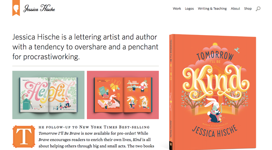 graphic designer websites: Jessica Hische portfolio website