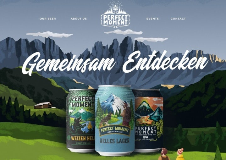 Blue and green illustrated nature website for a brewery