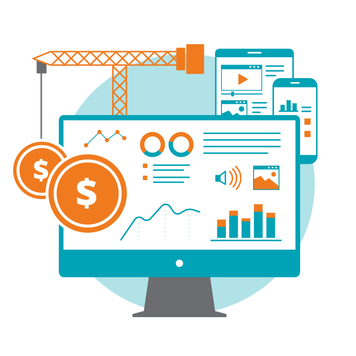 Orange, teal and white flat design icons for web analytics
