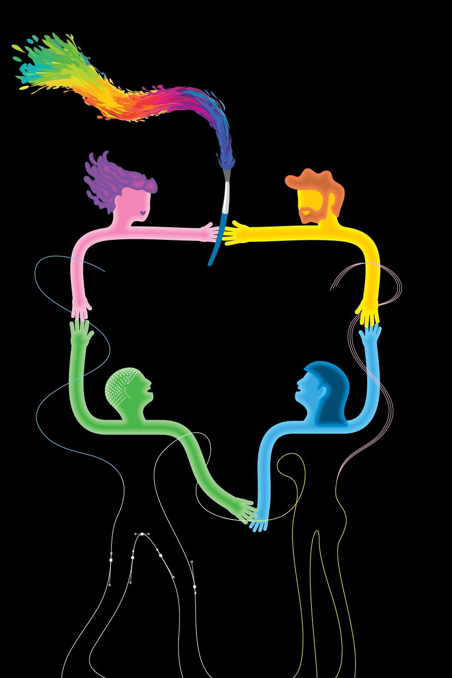 Illustration 4 Figuren Hand in Hand symbolisieren Zusammenarbeit mit Grafikdesignern
