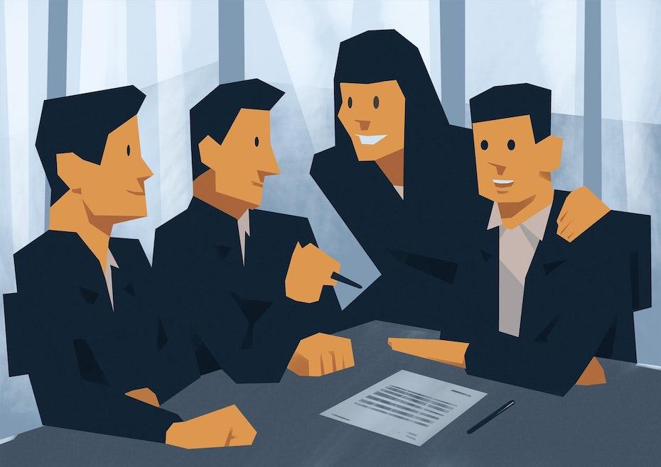Illustration von Geschäftsleuten am Tisch