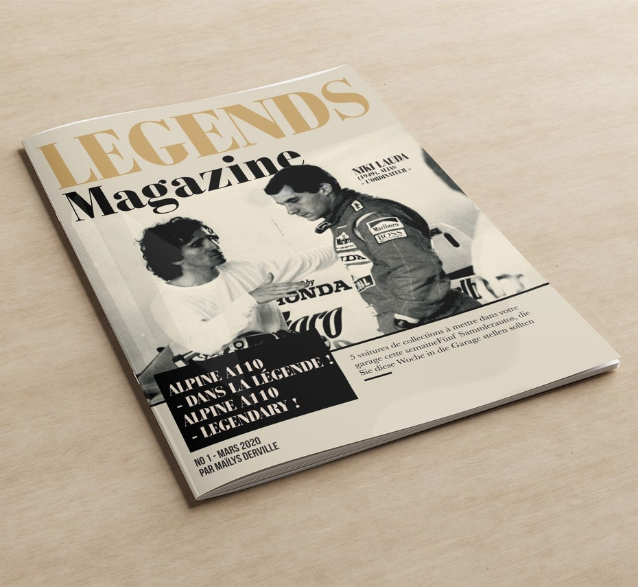 Example for traditional marketing: Classic magazine cover design