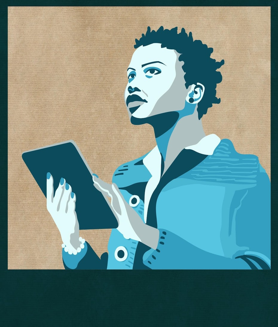 Propaganda style flat illustration of a woman holding a tablet