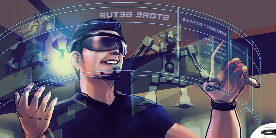 Illustration of a man using AR glasses to shop