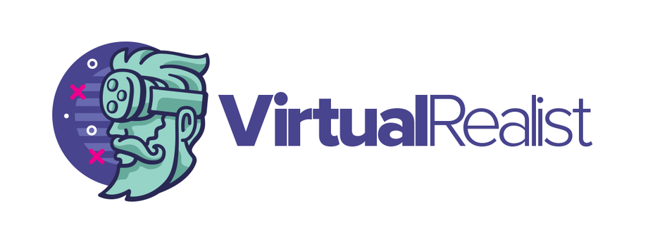 Logo design showing a cartoon man wearing a VR headset