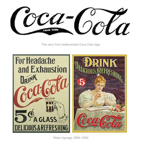 Coca-Cola logo and two vintage Coca-Cola ads