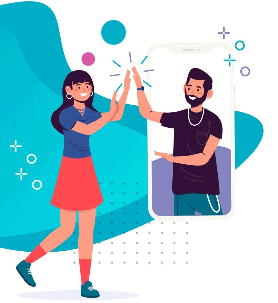 illustration der Beziehung zwischen Marke und Kunde via Smartphone