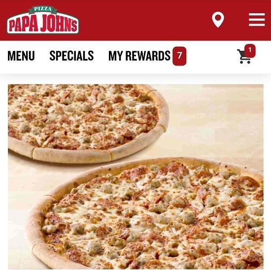 Papa John's website