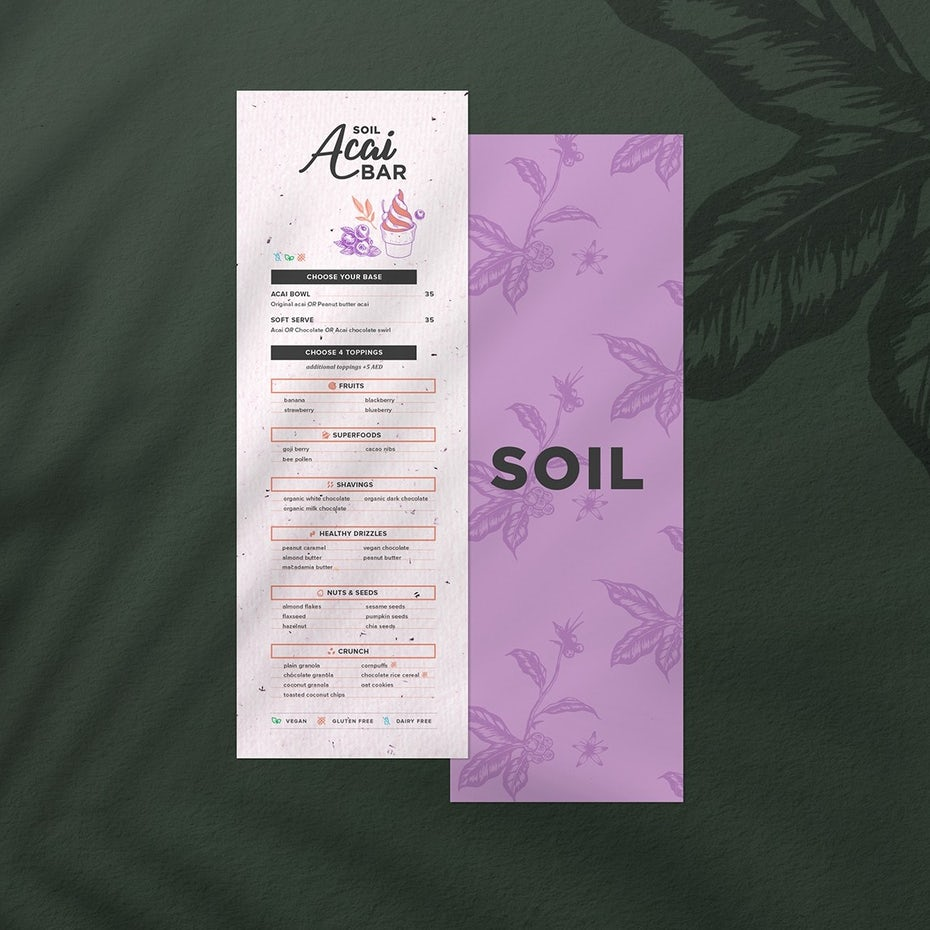 modern acai restaurant menu design