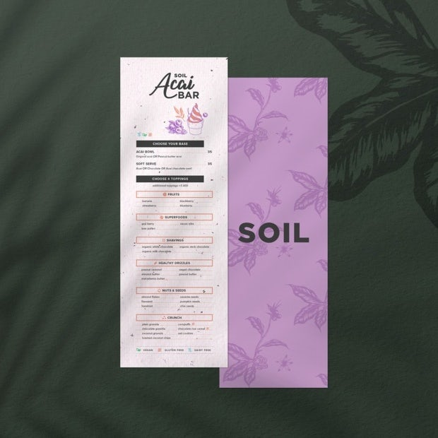 modern acai restaurant menu design