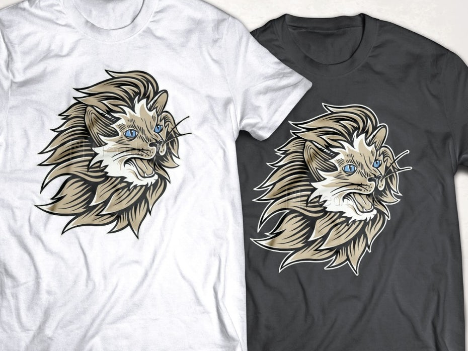 Custom t-shirt design with lion illustration