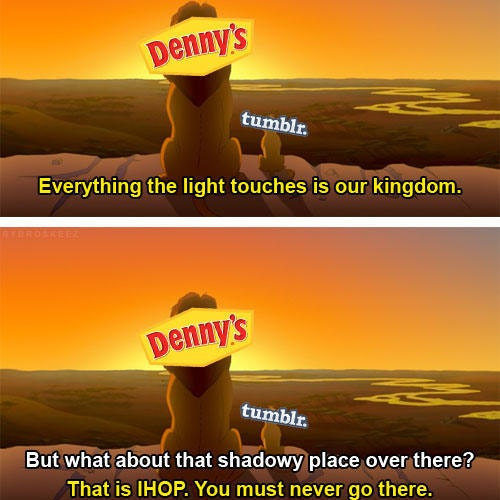 Simba and Mufasa meme posted by Denny's