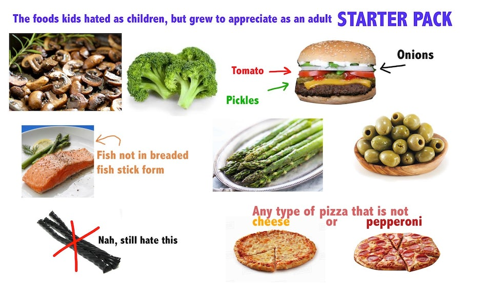 Starter pack meme showing multiple foods
