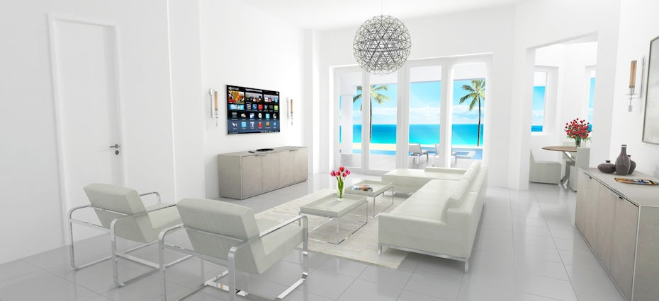 3D mockup of an all-white room overlooking a beach