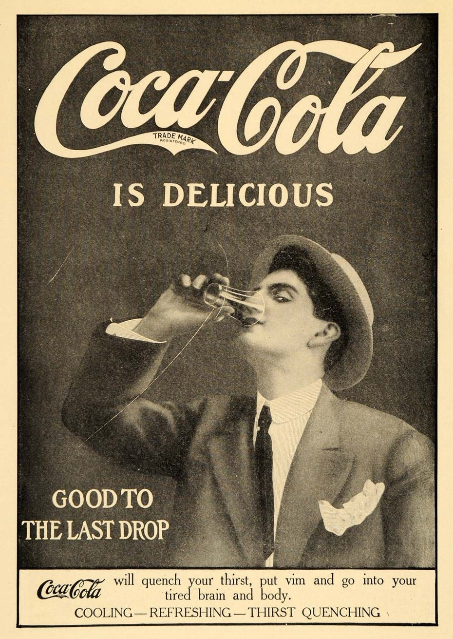 Black and white Coca-Cola ad
