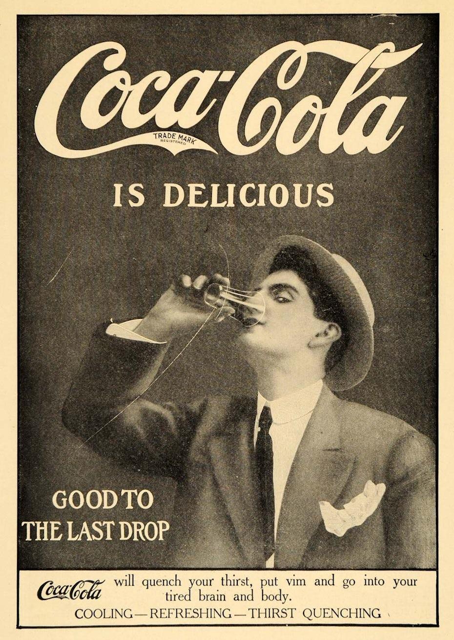 Scharz-weiße Coca-Cola Werbeanzeige