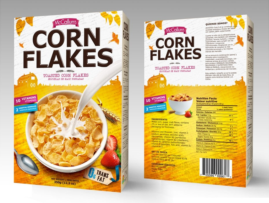 Corn flakes box yellow and white with brown lettering