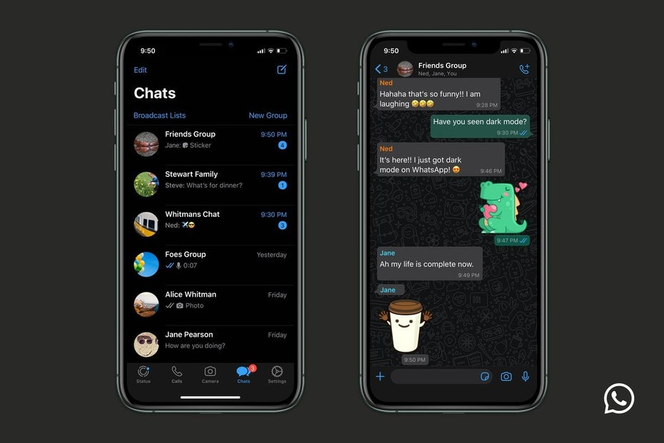 WhatsApp on desktop dark mode UI