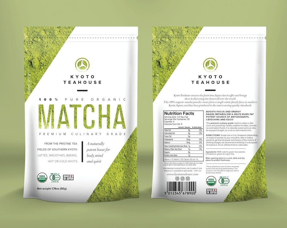 Green and white matcha tea pouch