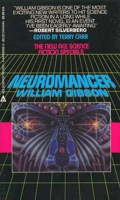 Neuromancer von William Gibson buchcover im cyberpunk-design