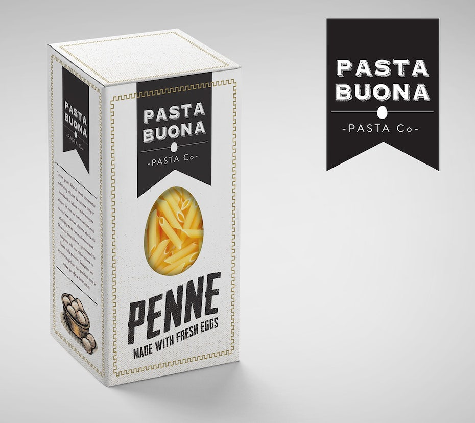 Black and white box pasta packaging