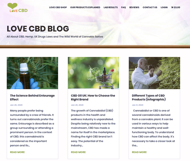 Screenshot from Love CBD blog