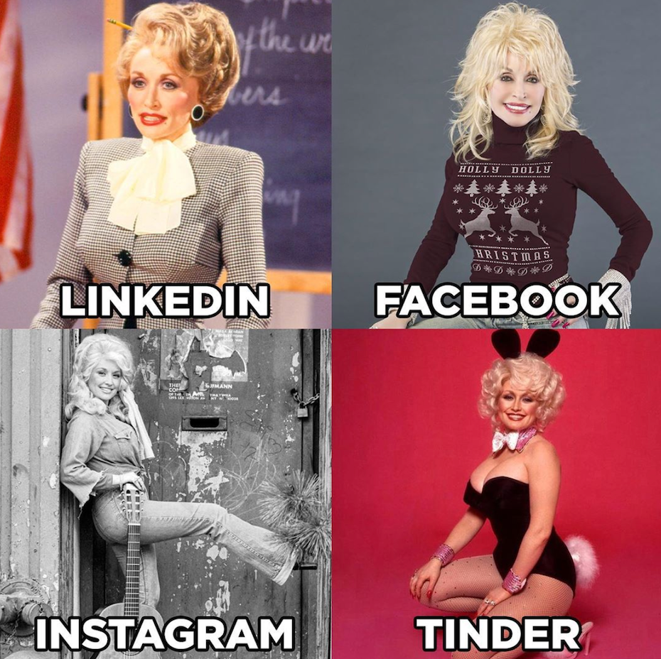 LinkedIn, Facebook, Instagram, Tinder meme featuring Dolly Parton
