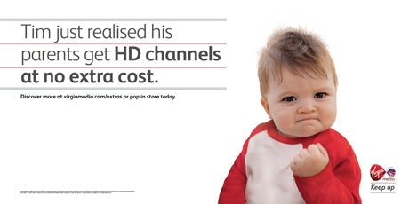 Success Kid in a Virgin Media ad